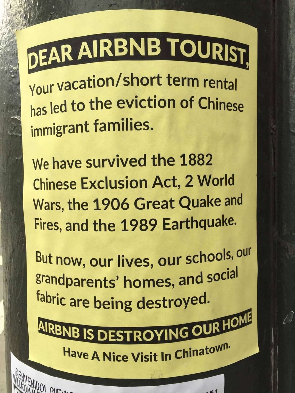 An anti-Airbnb sign in San Francisco's Chinatown. Photo:  Leigh Blackall