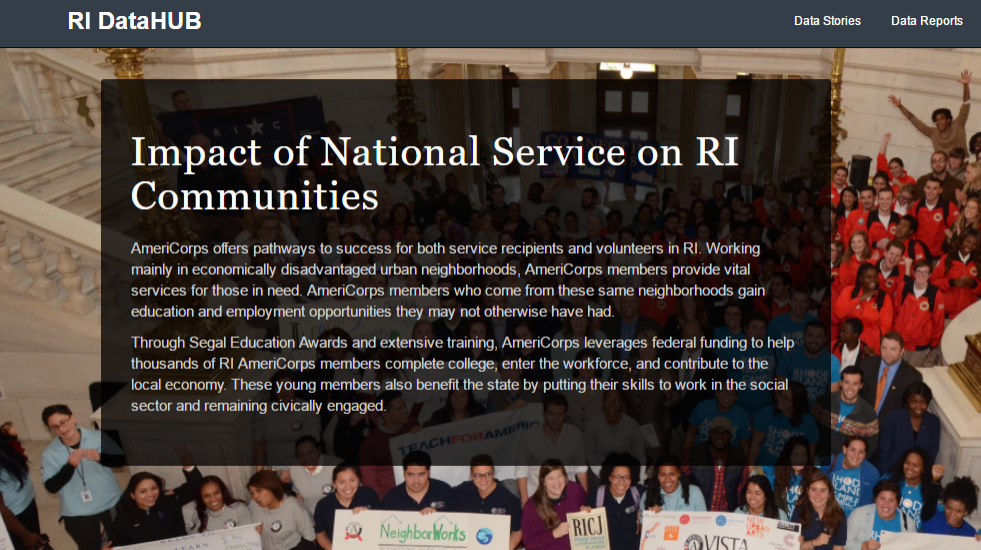 Click the image to visit RI DataHub for a Report on the Impact of National Service in Rhode Island
