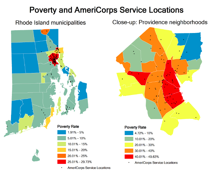 2016 AmeriCorps State Service Sites (Source: RIDataHub)