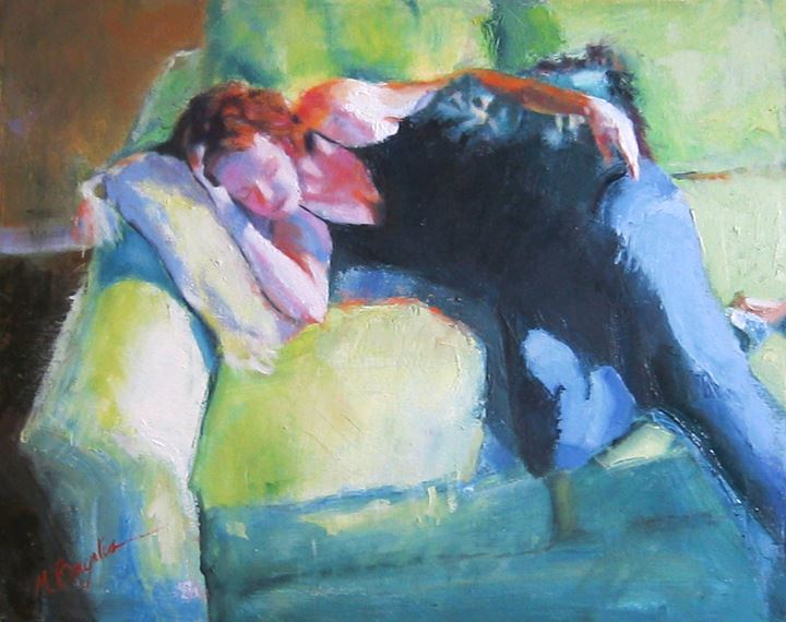 Figure on a Green Sofa by Margaret Bayalis