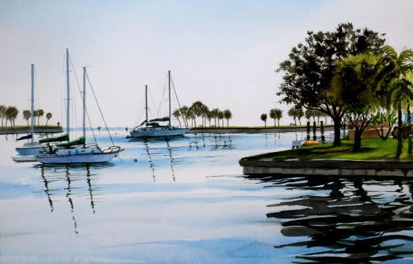 Sailboats on the Yacht Basin by John Bayalis