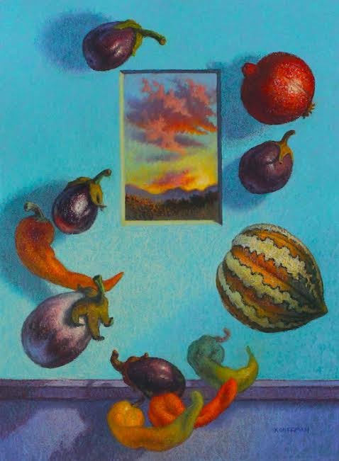 Eggplants Afloat at Dusk by Jakki Kouffman