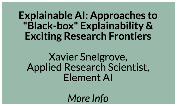 "Explainable AI  As AI algorithms become more common in the world, there is a recurring critique that they're ""black-boxes"": we can't evaluate how they make their decisions and that this makes them difficult to trust, debug, or wield as tools. This can be a major obstacle to deploying algorithms, especially in regulated contexts. The question of understanding ""why"" a model makes a decision turns out to be deep, as it touches on the problem of the nature of knowledge. In the end an explanation is for a *human*, so explainability research has strong connections to other fields such as design and education, with all of the complexity and ambiguity that comes with this association. In this talk we'll look at different approaches to AI explainability today, and exciting research frontiers. We'll discuss the appropriateness of different kinds of explanations in different contexts, the dangers of convincing but inaccurate explanations, and how explanations can help in other fields like AI ethics, and human computer interaction."