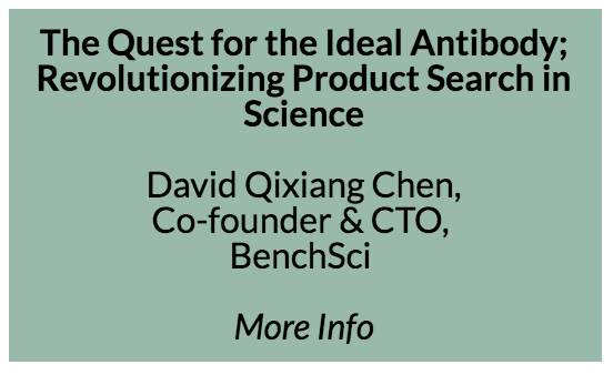 Applied Machine Learning and Case Study Talk - The quest for the ideal antibody, revolutionize product search in science - David Qixiang Chen, Co-founder & CTO, BenchSci  Problem  The antibody, an important part of the immune system, is a widely used reagent of biomedical experiments. Misuse of antibodies, often due to insufficient data, are responsible for up to 50% of failed experiments, and incur enormous cost in time and money for drug discovery. The best evidence of antibody use, and other scientific products are found in scientific publications. Existing publication search tools (pubmed, google scholar) are not meant for products. We decoded antibody experimental contexts from open and close-source publications with a combination of text mining, bioinformatics, and machine learning.  Model  At the end of the day, scientists prefer to judge experimental outcome by inspecting the publication images. We linked antibody contexts to its figure image, by identifying the correct product from amongst 4M antibodies, within 9M publications, across 300K contexts, and associate them with over 37M protein aliases. This complex task was computed using Spark and the search served on Elasticsearch. Deep neural nets were used to judge product/context usage relationship (embeddings, LSTM with attention), and to identify technique subpanel (CNN) in figures to fine-tune data accuracy.  Results  This platform is well received by academic and industry scientists. Some of the largest pharmaceuticals in the world are our customers, where their R&D scientists use Benchsci daily. Scientists told us that we have reduced their search time from weeks to minutes, and Benchsci has proven to be a game-changer in scientific product search.  Discussions  The mission for BenchSci is to close the gap between idea to outcome in science. We accelerate the pace of discoveries by removing roadblocks in the scientific iteration cycle. ML has proven to be indispensable, where the scaling of data processing with a small team could only have been achieved through the use of deep learning.