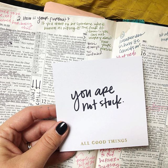 """In Jesus' name, you are never stuck. ⠀⠀⠀⠀⠀⠀⠀⠀⠀ You can go up. Praise changes our countenance and lifts our head. ⠀⠀⠀⠀⠀⠀⠀⠀⠀ You can go low, repentance brings refreshment and changes the atmosphere around us. ⠀⠀⠀⠀⠀⠀⠀⠀⠀ You can go back, see His faithfulness and count the work of His hand in the past. ⠀⠀⠀⠀⠀⠀⠀⠀⠀ You can take a step of obedience or faith forward. There's always a move to make and you're safe in His love, even if you make a mistake. ⠀⠀⠀⠀⠀⠀⠀⠀⠀ The enemy says we're stuck, but let's refuse to make an agreement with that dumb liar. Let's make a move in love. @jessaconnolly ""  #shereadstruth #gritandgrace #propelwomen #jesusgirl #jessconnolly #growingrace #freedom #freeindeed"