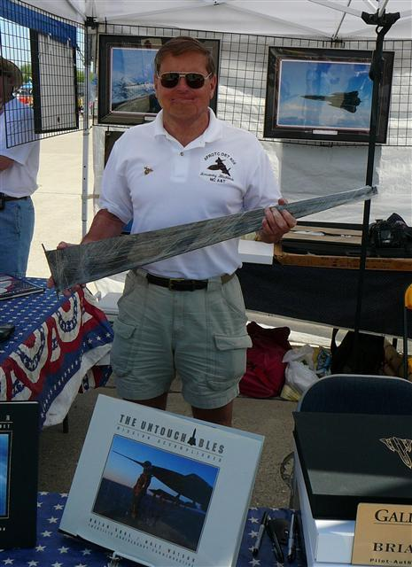Brian Shul, Major USAF (RET) SR-71 Pilot 19 April 2009, Beale AFB Flightline, in front of SR-71 Shelters.  Autographing MACH 3 Titanium Collectibles and now a proud owner of a whole SR-71 mission flown part of 61-7960