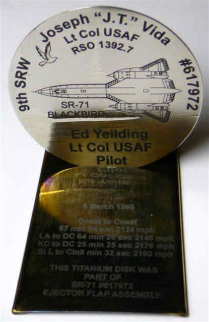 4 inch diameter SR-71 Titanium Disc commemorating the last multi-record breaking flight of SR-71A, 617972