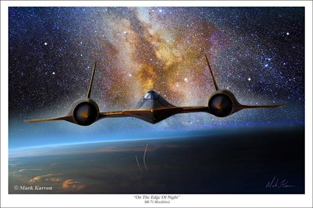 "Top quality SR-71 Blackbird prints now available. ""On The Edge Of Night"" by the talented artist, Mark Karvon"