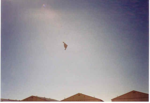 Here is a B-2 flyover of the SR-71 Shelters at Beale AFB.