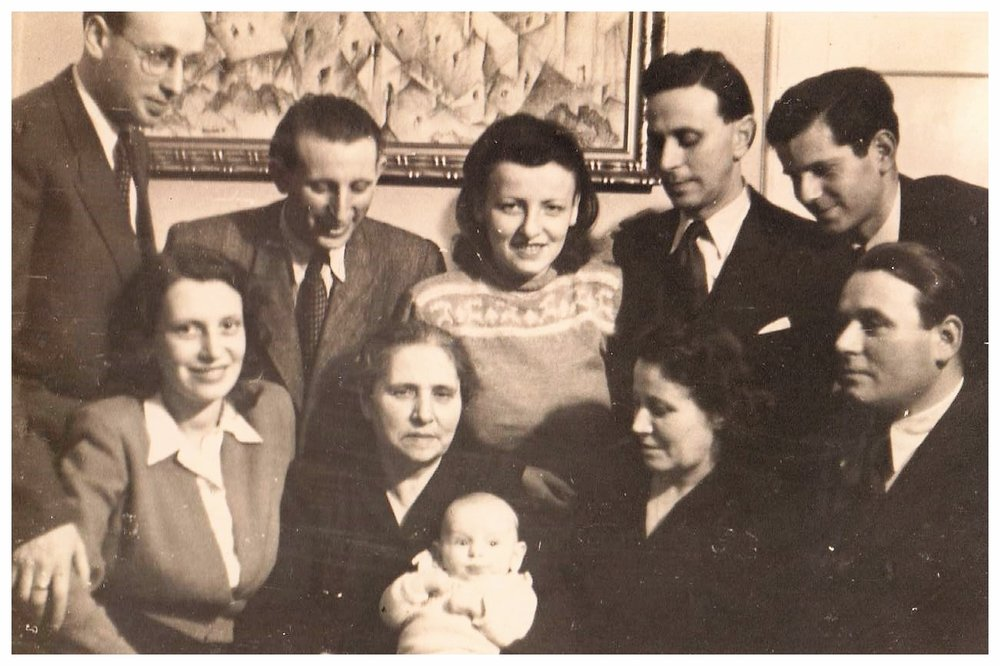 Kovary family survivors with first post-war grandchild, c. 1947