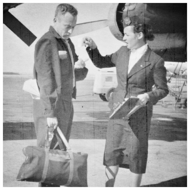 Eva as KLM employee with author Leon Uris, Israel c. 1953