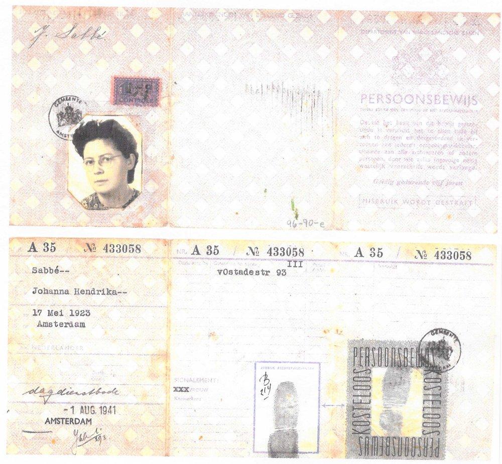 Meta's identification card with false ID 'Johanna Hendrika Sabbe'