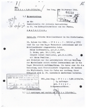 Document from Yad Vashem archives used against Eichmann. It is the arrest order for my grandfather and his family.