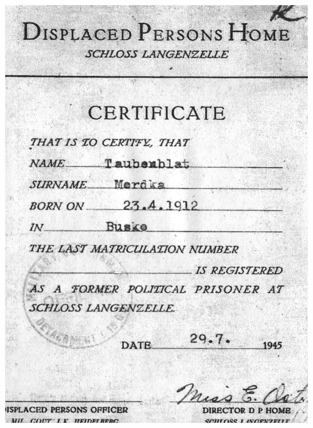 Certificate of registration at post-war DP camp