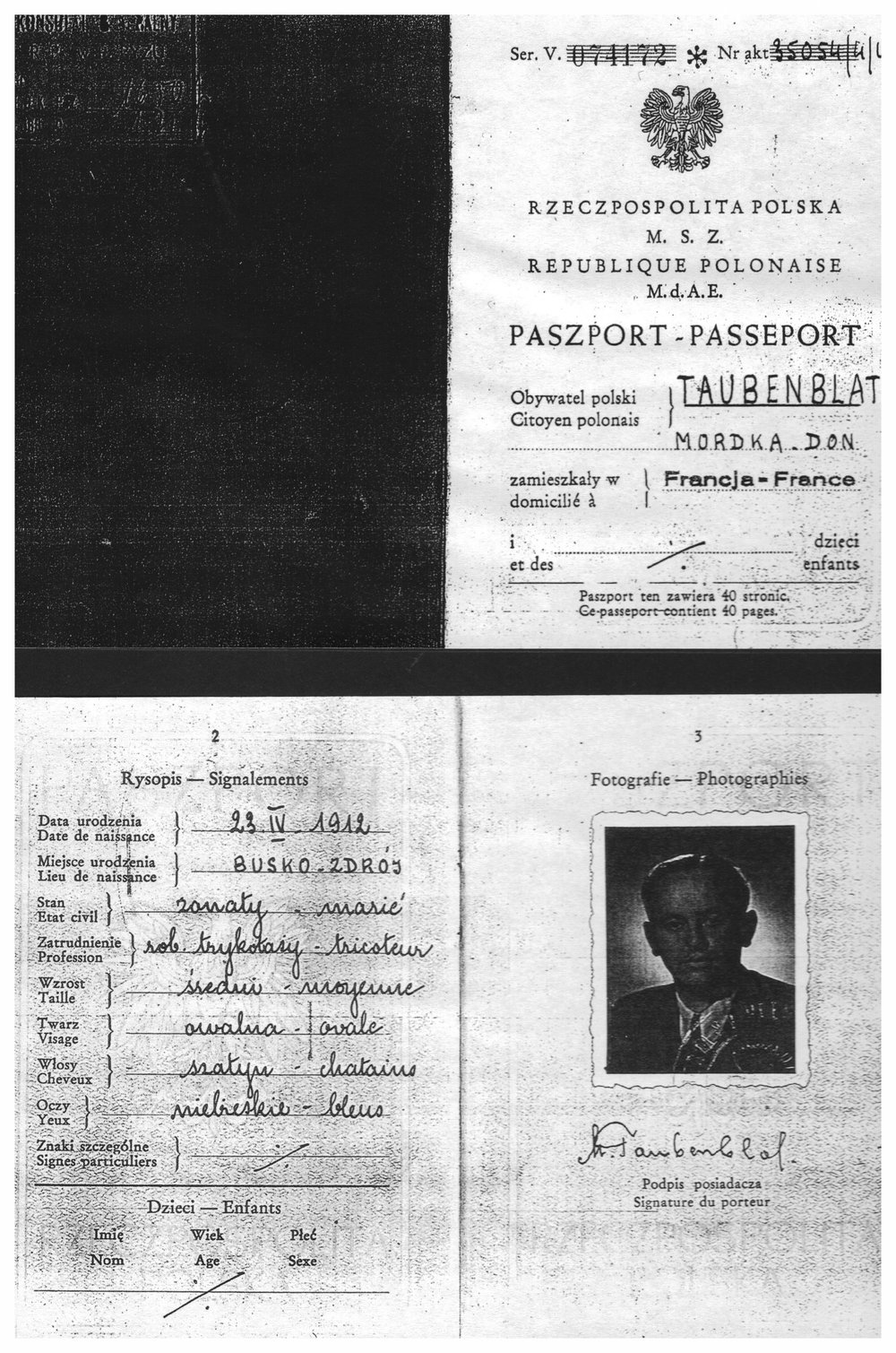 My father's Polish passport - Mordka Taubenblat
