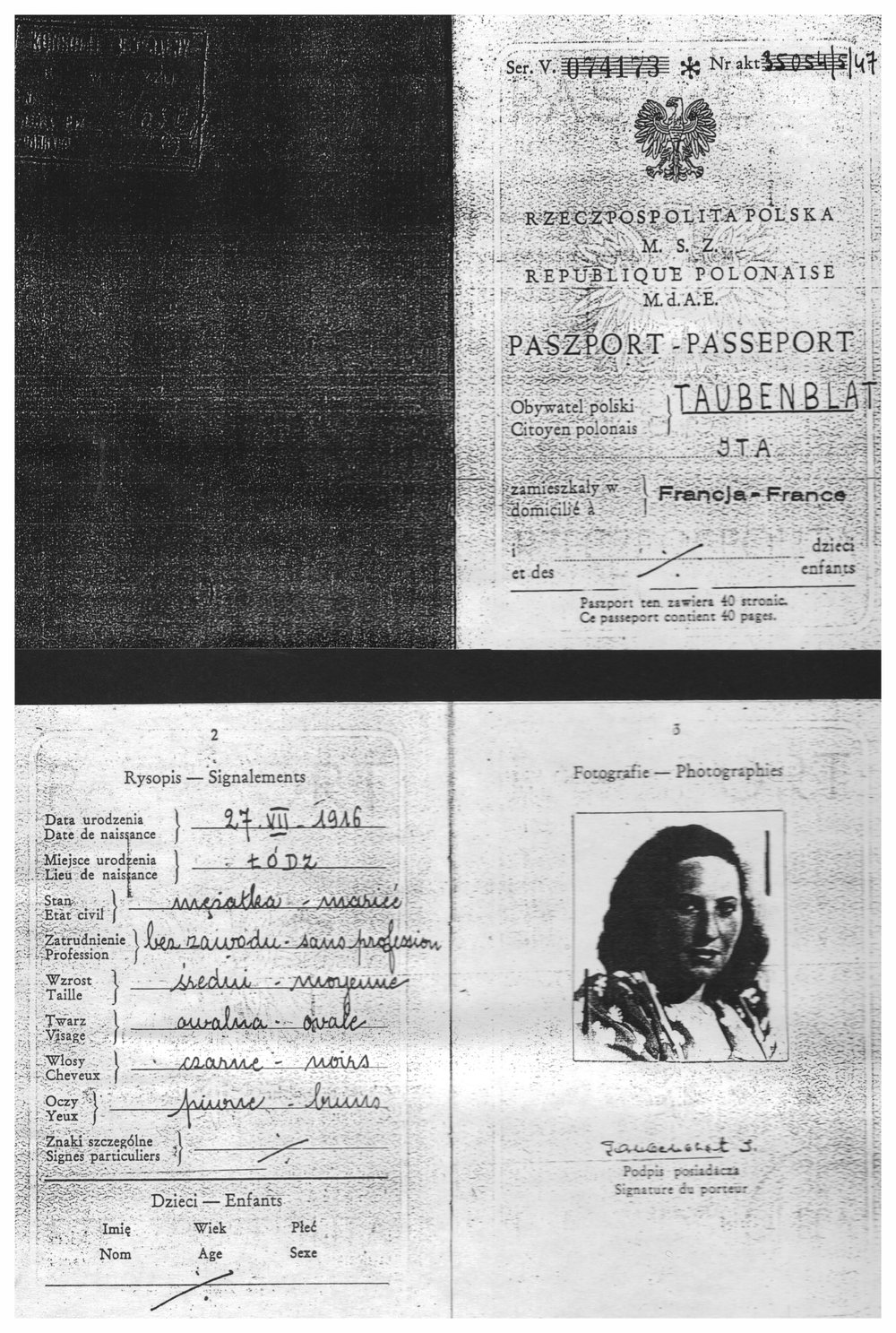 My mother's Polish Passport - Yta Taubenblat