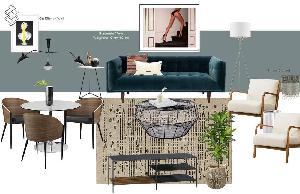 Modern Eclectic Living Room Design // Jordan Interiors // Online Interior Design