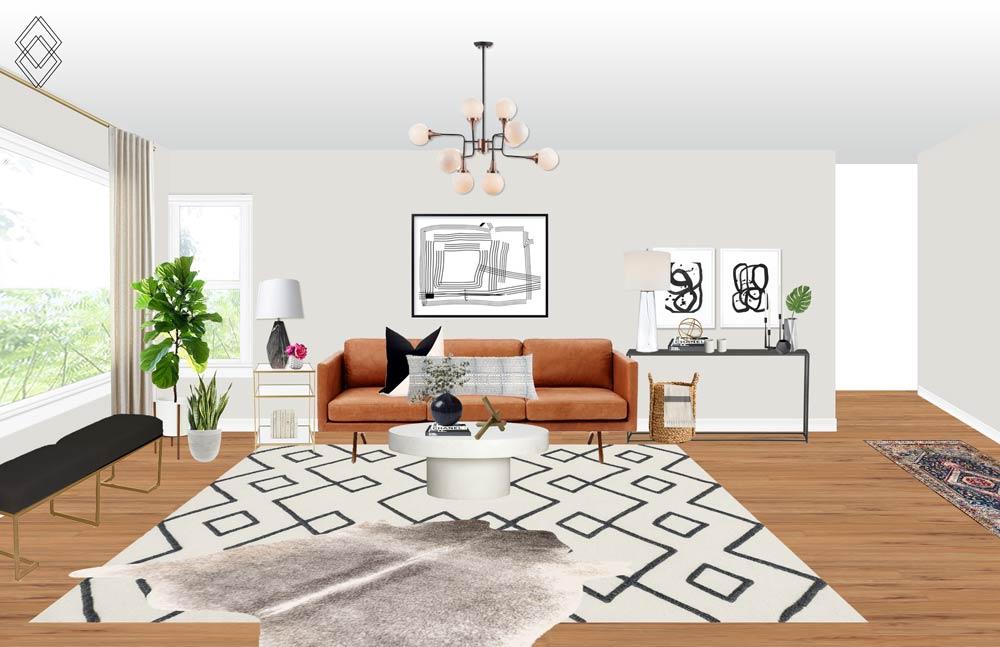 Modern Eclectic Living Room // Jordan Interiors // Online Interior Design
