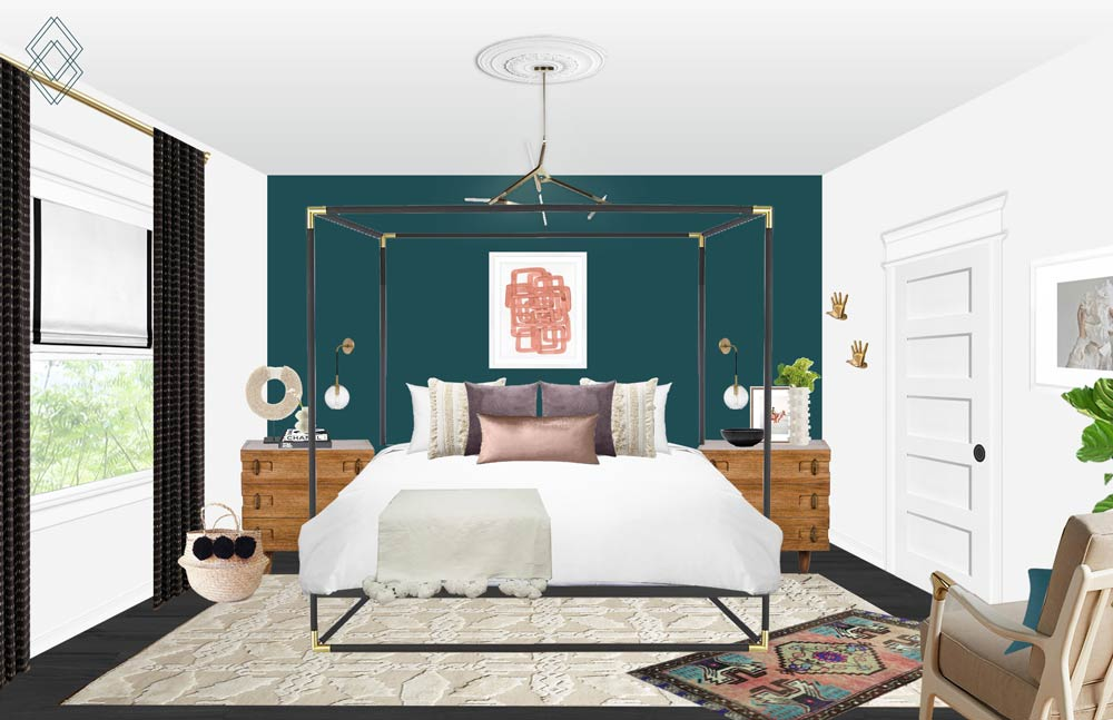 Modern Eclectic Bedroom Design // Jordan Interiors // Online Interior Design