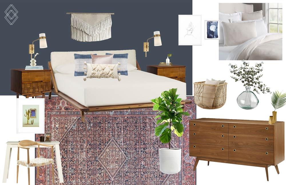Modern Bohemian Bedroom Design // Jordan Interiors // Online Interior Design