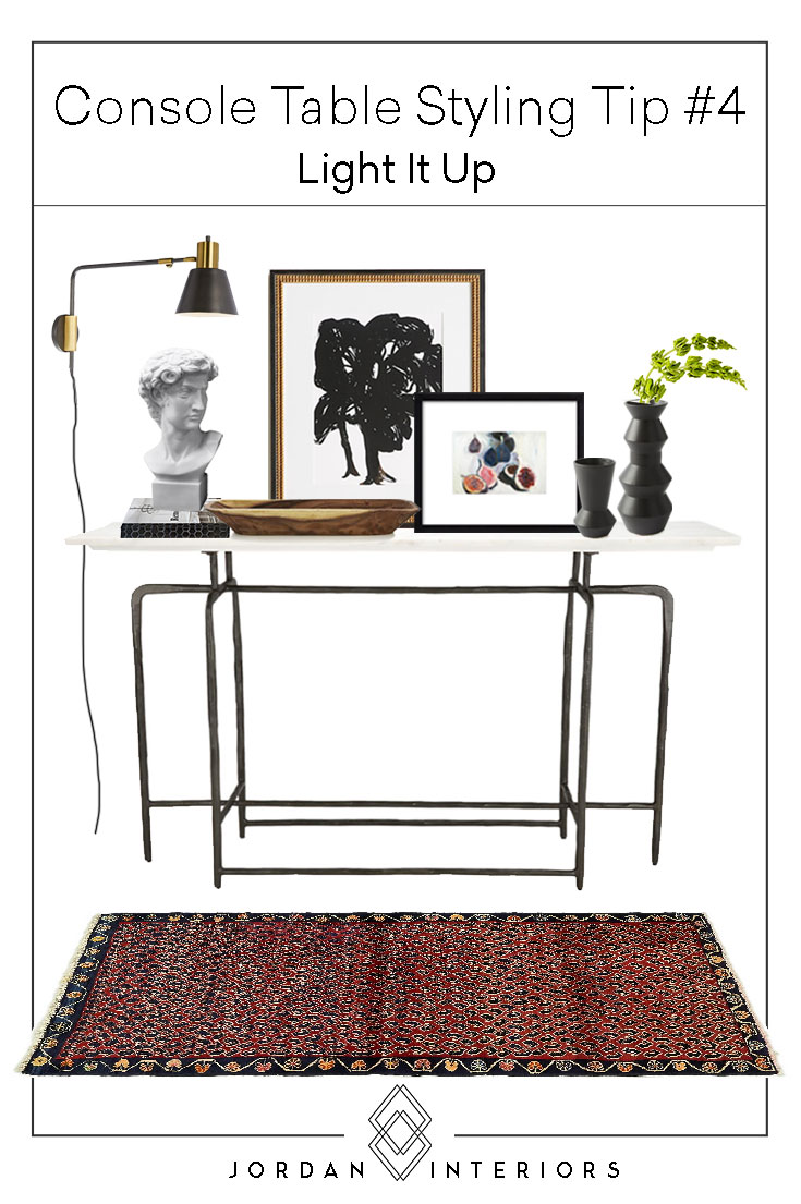 Are you struggling with decorating your console table? Check out these 8 tips on how to style your console table like a pro and grab my Free Styling Cheat Sheet, Shopping Guide and Shoppable Vignettes! // Jordan Interiors