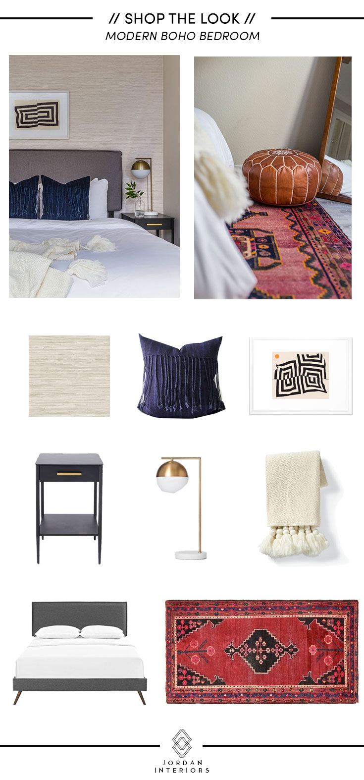 Shop The Look //  Modern Boho Bedroom // Jordan Interiors