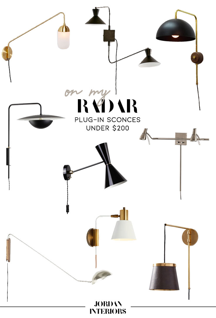 Plug-in Sconces Under $200 // Jordan Interiors //  Modern Eclectic Interior Design