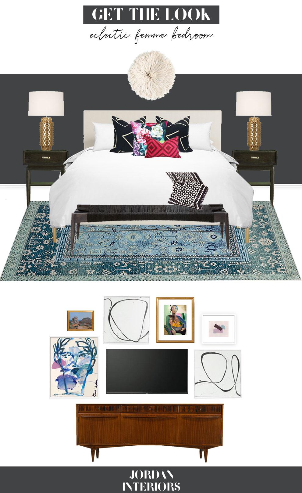 Modern Eclectic Femme Master Bedroom // Jordan Interiors