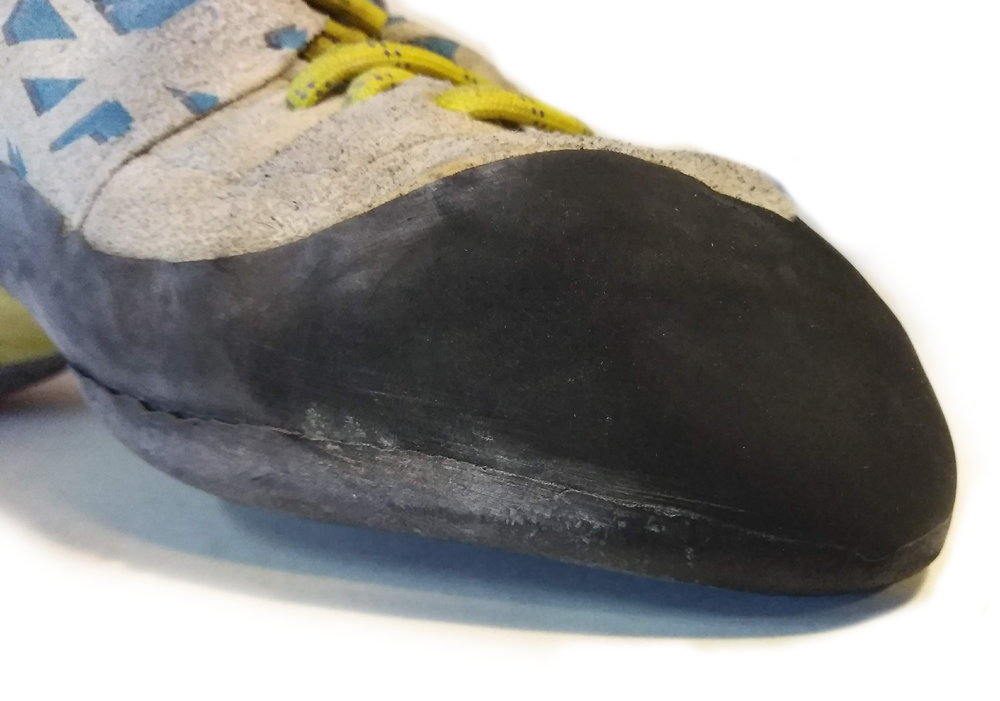 Half Resole Needed - This shoe is ready for a Half Resole. The sharp edges have worn rounded, edging performance suffers, and the seam between the sole and the rand is just starting to recede downward.