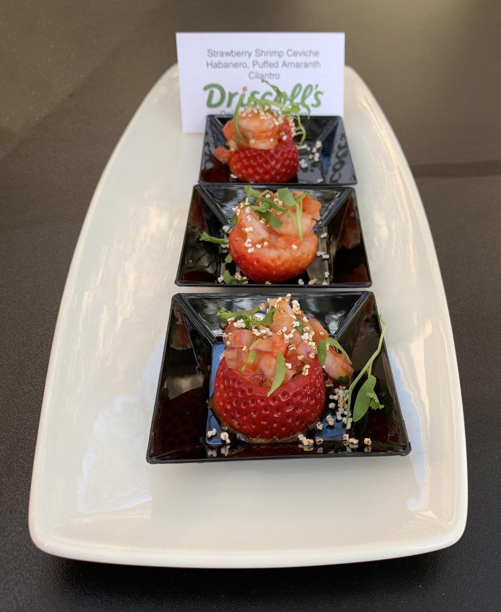 Strawberry Shrimp Ceviche, Habanero, Puffed Amaranth, Cilantro