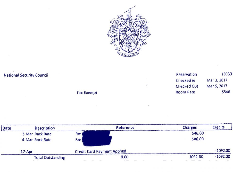 A receipt from Donald Trump's luxury Palm Beach resort Mar-a-Lago showing that the White House National Security Council was charged $1,092.00 for a guest to stay at the resort on March 3, and 4 of 2017. A copy of this invoice and several others can be reviewed in full  HERE .