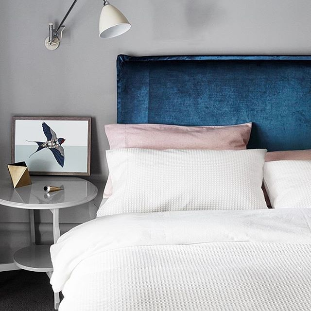 Excited to have discovered @heatherlydesignbedheads today via @abode_living Absolutely in love with this velvet peacock blue 'Rupert' bed head. Pic @abode_living