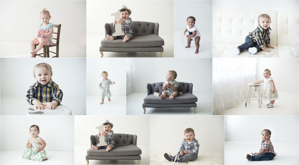 First birthday portraits on classic white!