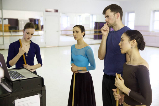 In collaboration in the studio. Left to right: Alberta Ballet's Jennifer Gibson, Hayna Gutierrez, Christopher Anderson and Luna Sasaki.  Photo Credit: Paul McGrath
