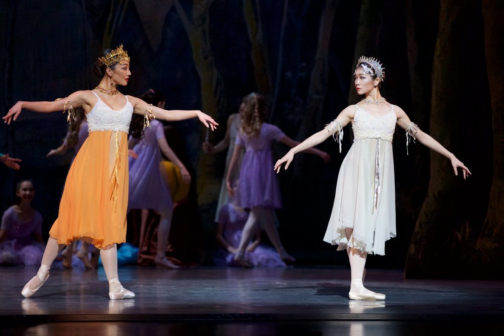Alberta Ballet's Melissa Eguchi and Sayuri Nakanii as season fairies in Cinderella. Photo: Paul McGrath