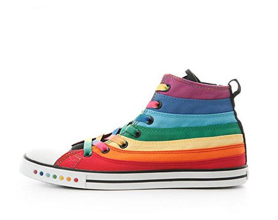 Women's Rainbow Canvas High Top Sports Shoes
