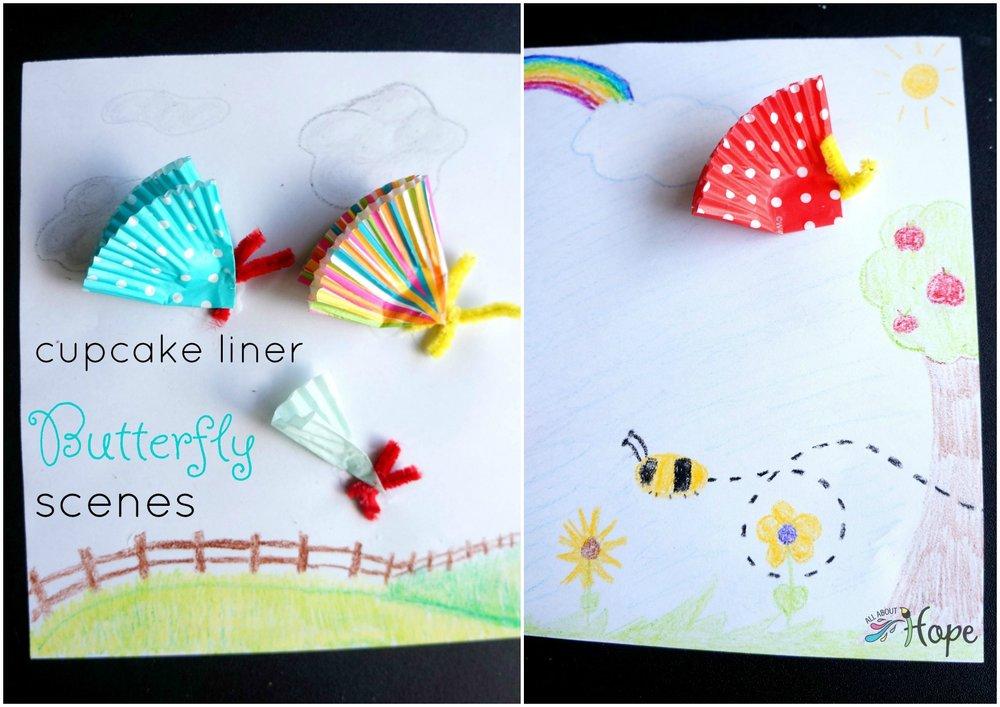 Cupcake Liner Butterfly Scenes, Cupcake liner butterflies, Cupcake liner craft, DIY butterflies, Butterflies with cupcake liners