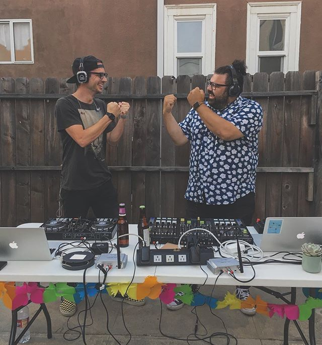Love getting to learn from and hang with my boi #djsway! Thanks for having us Allie and April! #hermanos #DJ #LA #silentdisco #party #oldskool #music #summertime