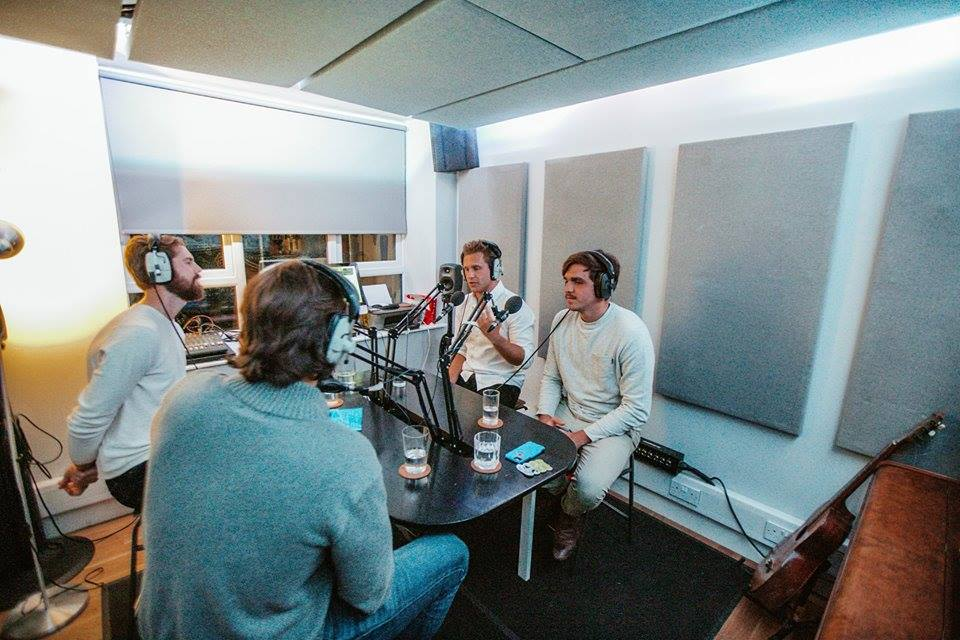 Recording the podcast at the Soho radio studio, London