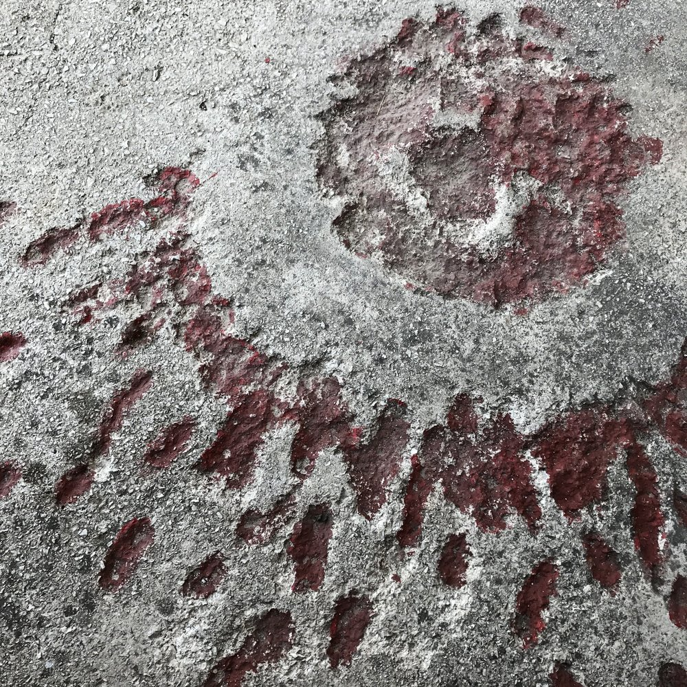 Sarajevo Rose: where a mortar shell exploded and killed more than one person, the scar is filled with red resin in remembrance.