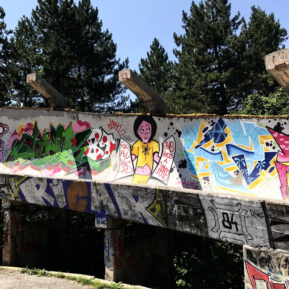 Graffiti remains of the bobsled track from the 1984 Winter Olympics. People stole metal out of here for scrap, and it sort of fell into disrepair until 2014, when it was cleaned up.