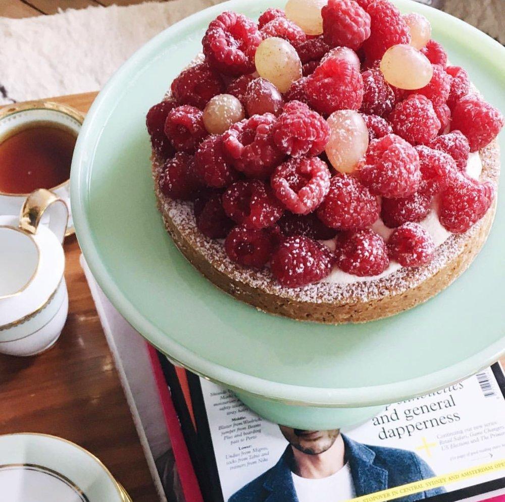 Raspberry tart at Bontemps. Photo by Lindsey Tramuta.