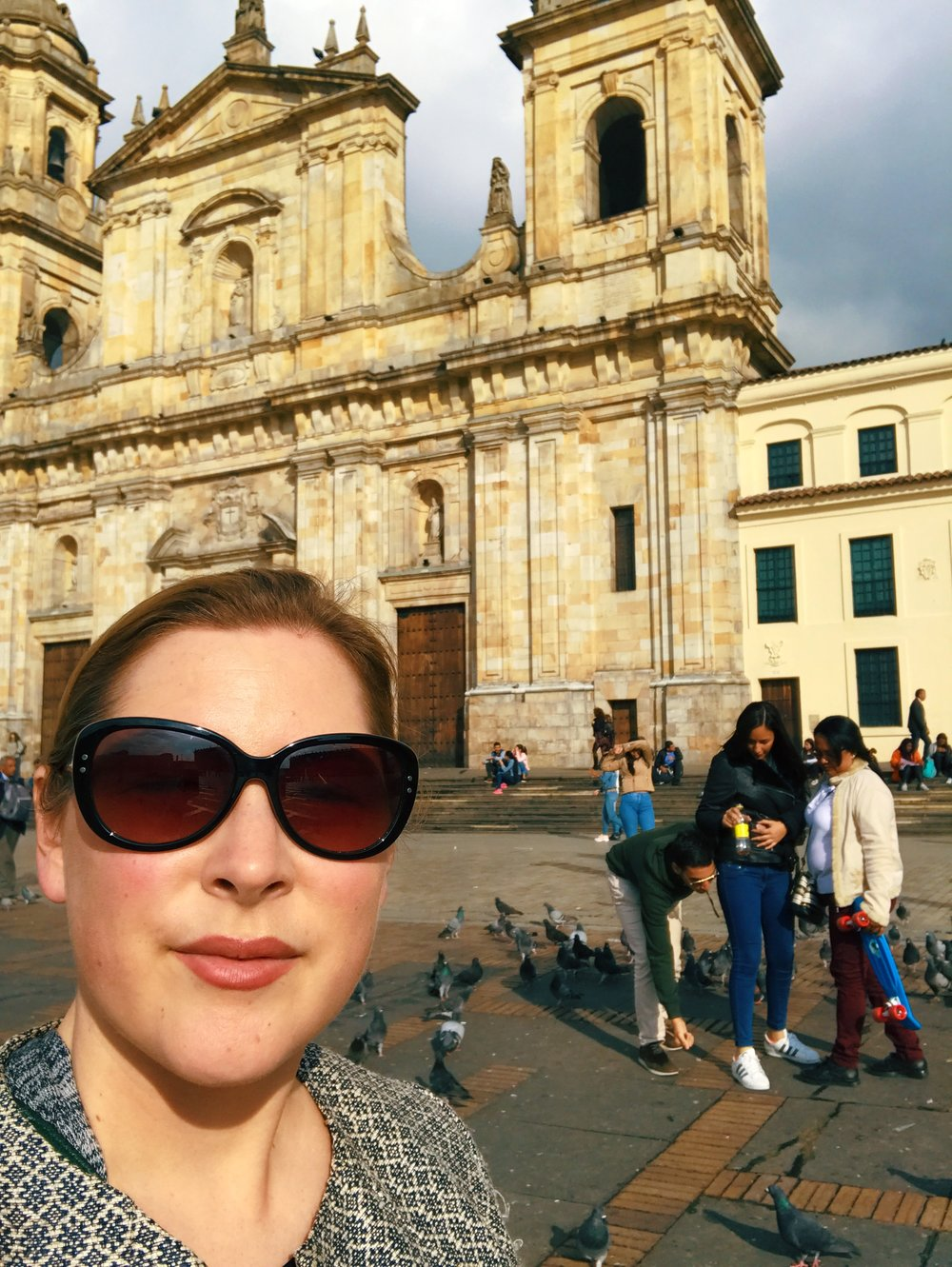 Hi from Plaza de Bolivar. Right after I interviewed Andrew, I hopped on a plane and flew to Colombia. I lost these sunglasses at the end of the trip and had to buy new ones in Mexico. The end.