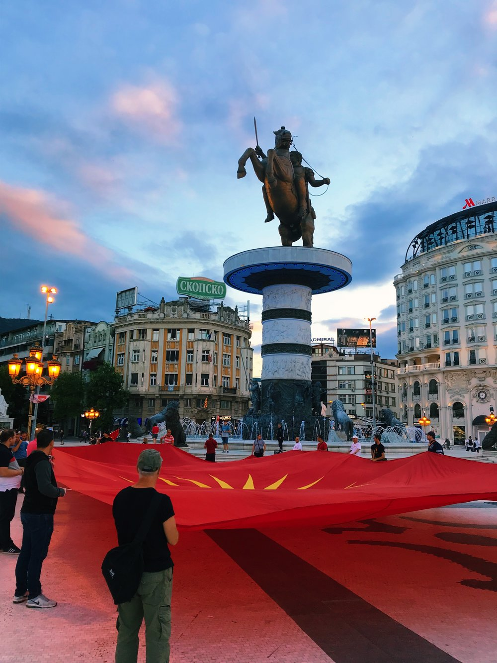 Protesting Macedonia's potential name change in Skopje, the country's capital. in front of the 'Alexander the Great' statue.