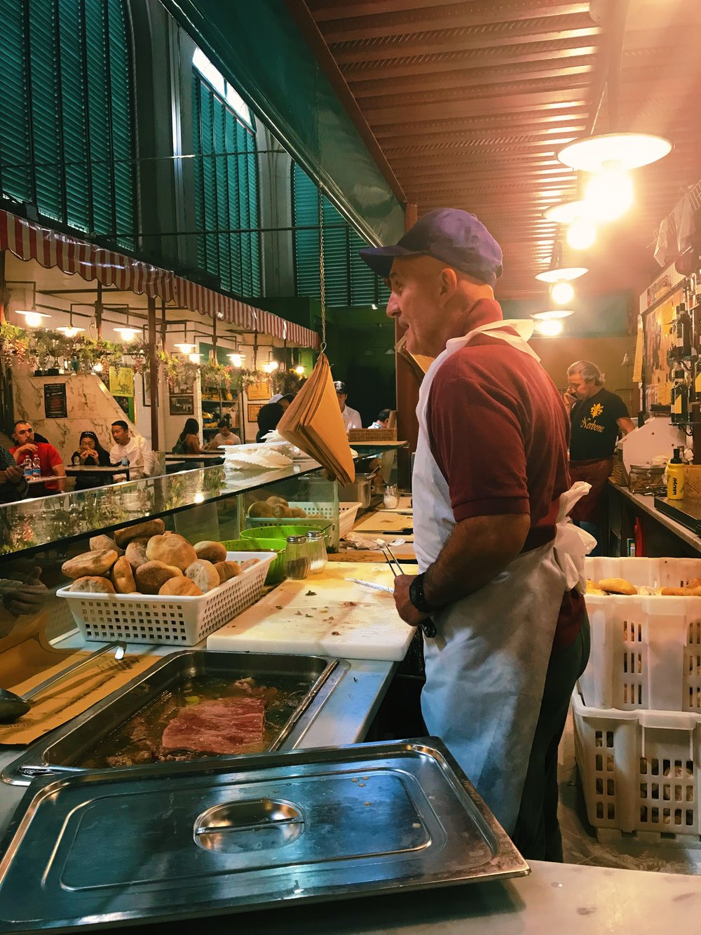 Even though these guys are very nice, as a vegetarian, I would not eat the sloppy meat sandwiches (bollito di Manzo) at Nerbone in the Central Market. But carnivores love them.