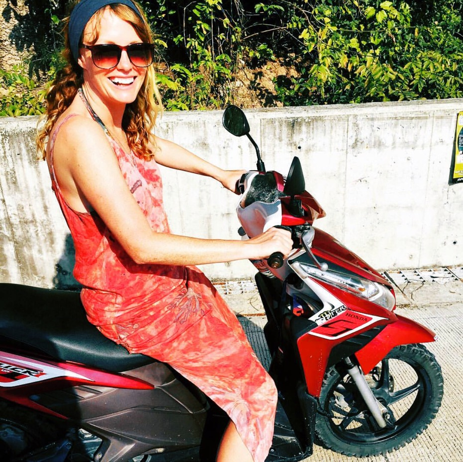 Globetrotting Audrey on a motorbike in Koh Tao.