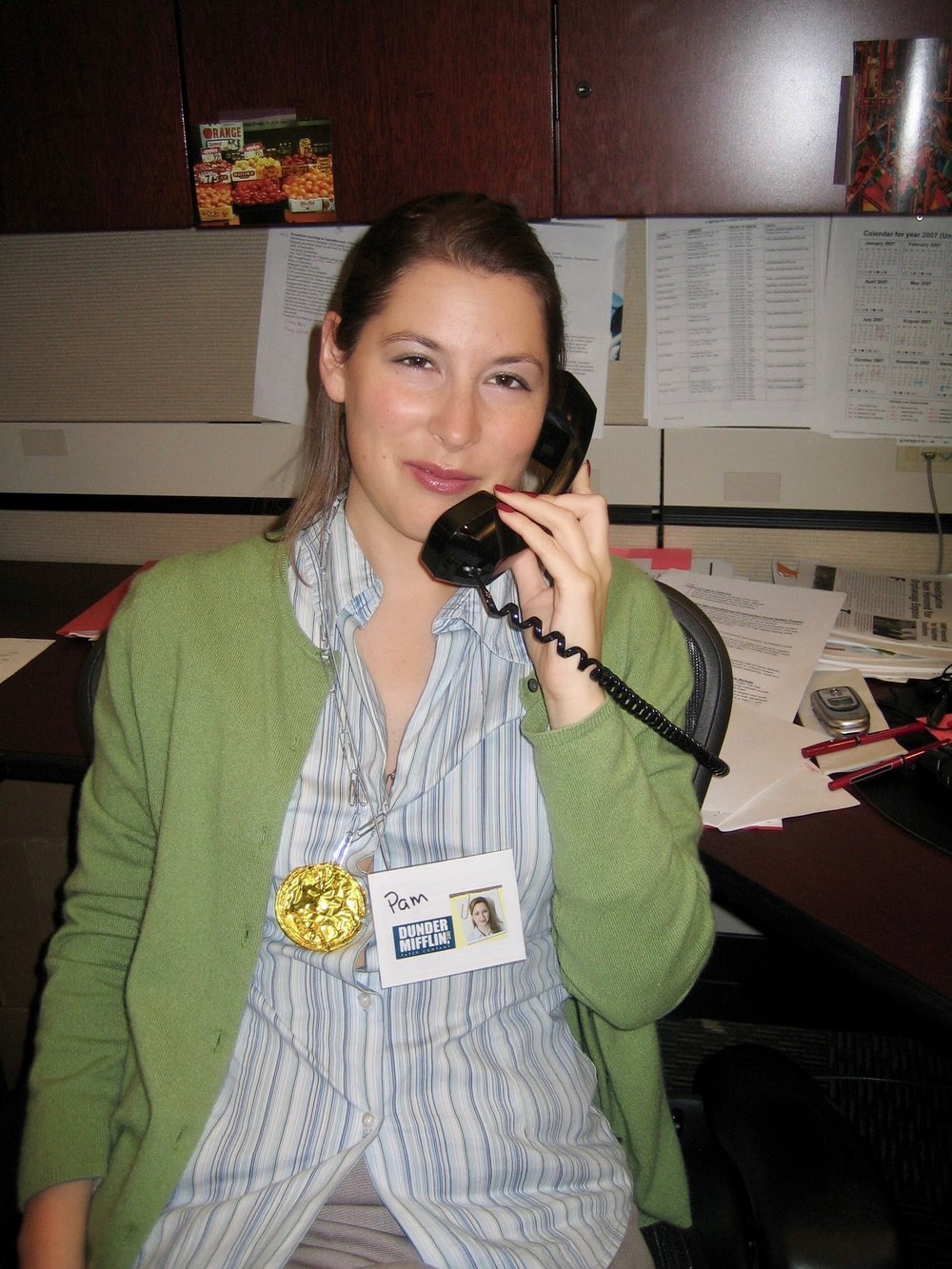 Me dressed up like Pam from The Office (American version). What do you think of my cell phone in the background??