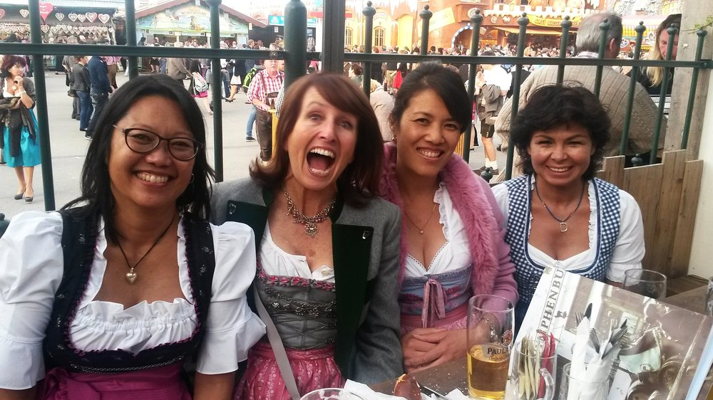 Maxine getting her drink on with other ladies in  dirndls.  Photos here courtesy of Maxine.