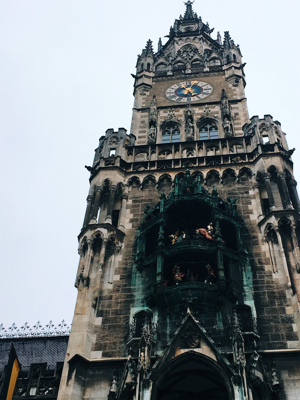 Another must-see in the city center: the  Rathaus-Glockenspiel  at the New Town Hall in Marienplatz, the city's central square. See the figurines dance at 11 a.m. and 5 p.m., and also at noon during summer.