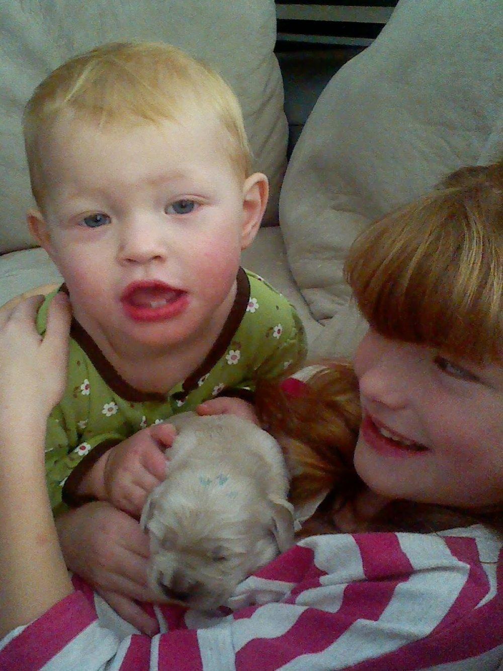 Eden and Anna with Maverick -
